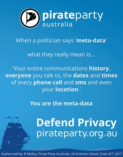 """2013 election leaflet from the Pirate Party. The Pirate Party's promote freedom of information and culture, right to privacy for individuals and transparency for organisations. """"Defend Privacy."""" pirateparty.org.au"""