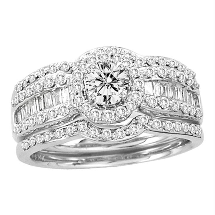14kt White Gold Women's Round Diamond Bridal Wedding Engagement Ring Band Set 1.00 Cttw - FREE Shipping (US/CAN)
