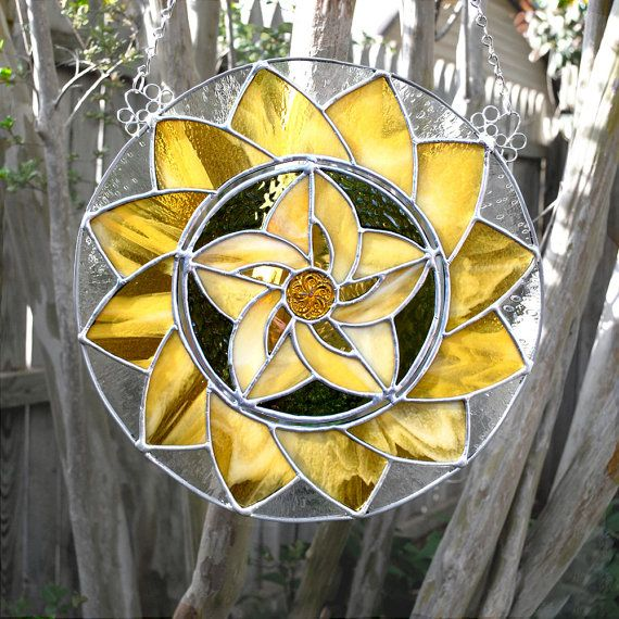 Gold and Green Mandala Stained Glass Panel by aHouseofShards, $94.00