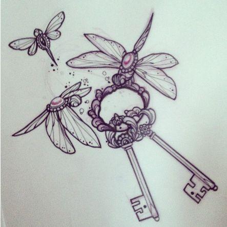 Dragonflies and keys tattoo