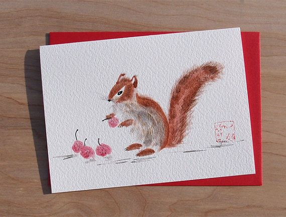 Red Squirrel and Lychee Fruit Chinese Brush by KelliMcNicholsArt