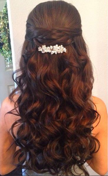 Wedding Hair Inspiration ~ Loose Wavy/Curls~ Pulled Back & Decorated w/ Crystal Barrettes