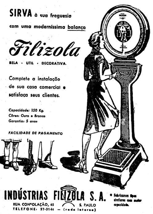 Propaganda das Balanças Filizola, em 1958. Modelo clássico de balança de farmácia.