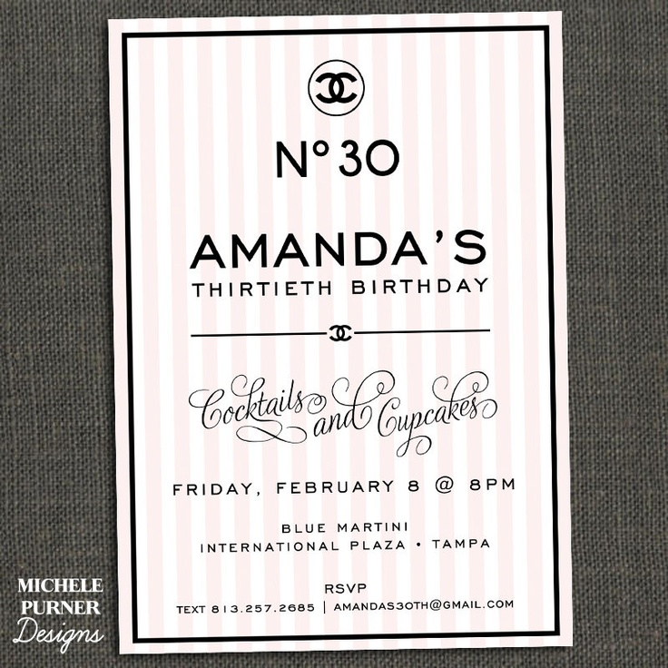 CHANEL inspired Birthday Party Invitation