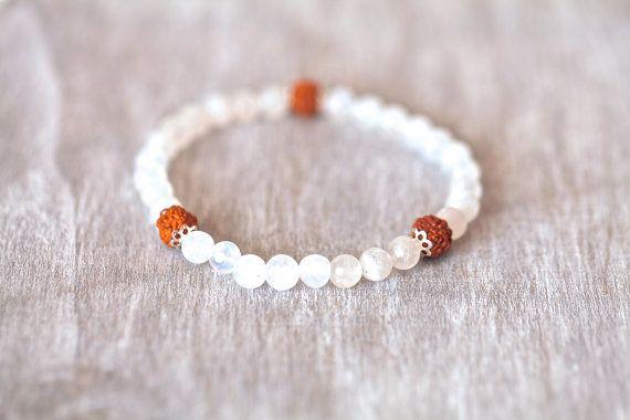 Rudraksha bracelet with natural Moonstone by MatahariSoulJewelry