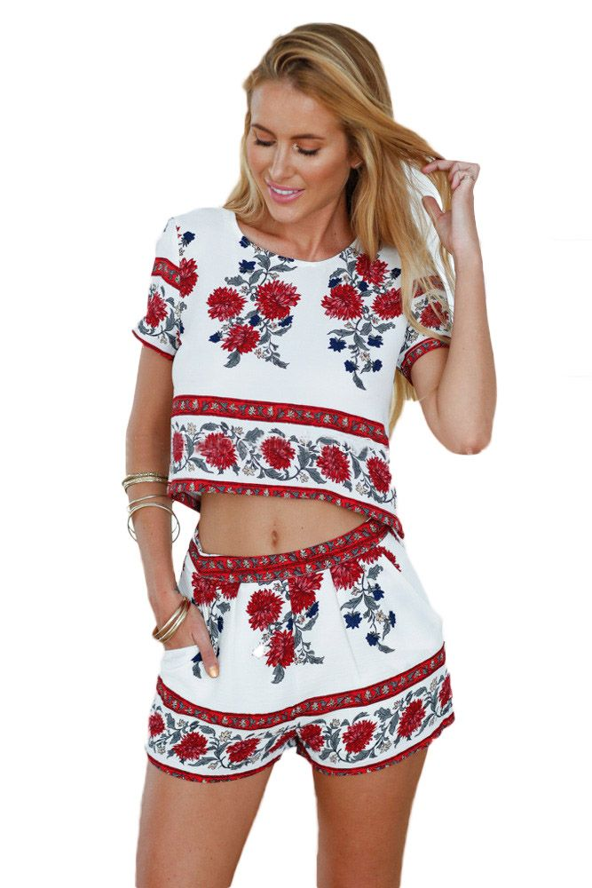 Womens New Cute Floral Print Short Sleeve Summer Casual Party Crop Top and Shorts Set 2 Piece Set High Waist Shorts Suit