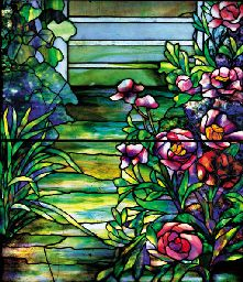 A 'PEONY' LEADED GLASS WINDOW  TIFFANY STUDIOS FOR THE RESIDENCE OF RICHARD B. MELLON, PITTSBURGH, PENNSYLVANIA, CIRCA 1908-1912
