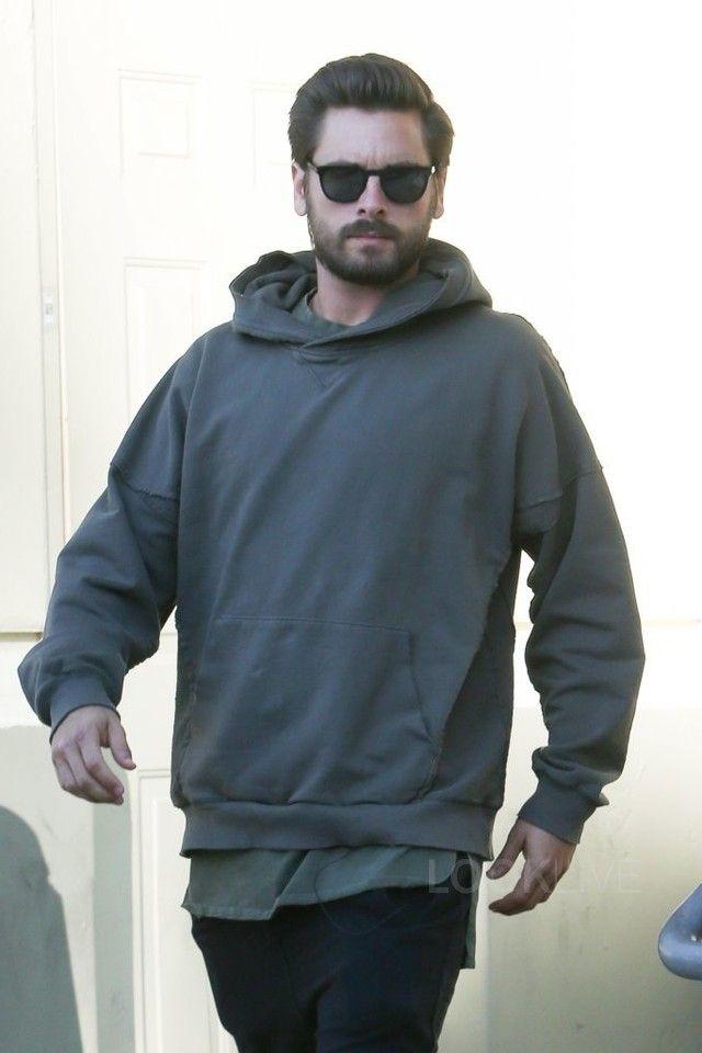 Scott Disick wearing  KNYEW Raw Edge Hoodie, Saint Laurent D-Frame Acetate Sunglasses