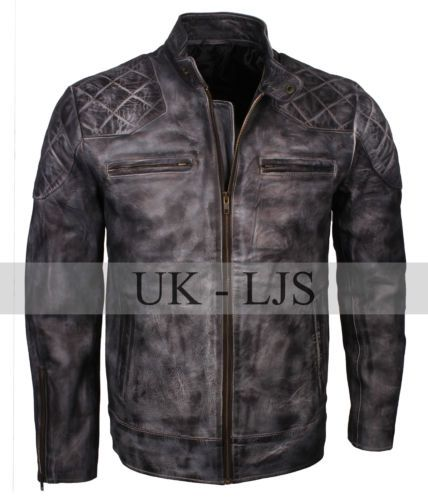 ca7263cc7 Details about Men's Custom Quilted David Beckham Inspired Grey Waxed ...