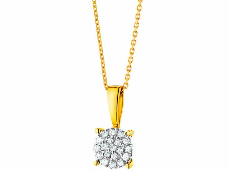 Zawieszka z żółtego i białego złota z diamentami | Apart