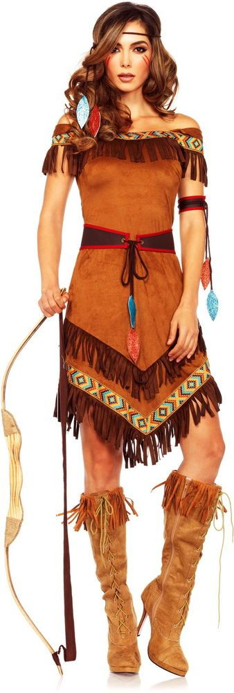 Sexy Cherokee Princess Indian Tribal Leader Native American Costume Adult Women in Clothing, Shoes & Accessories, Costumes, Reenactment, Theater, Costumes   eBay