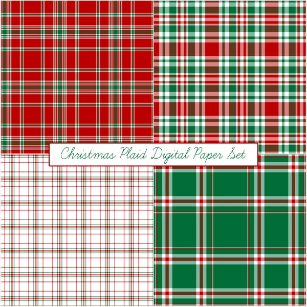 Free Christmas Plaid Digital Paper Set From Just Peachy