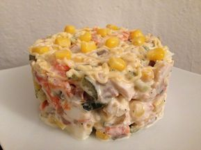 Reteta culinara Salata de pui cu ciuperci si porumb din categoria Salate. Specific Romania. Cum sa faci Salata de pui cu ciuperci si porumb