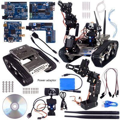 Una descrizione di Kuman SM5-1 Wireless Wifi manipulator Robot Car Kit per Arduino, con rilevatori di ostacoli intelligenti a ultrasuoni e infrarossi HD Fotocamera Ds Robot Smart, una grande scelta per l'apprendimento dell'elettronica per la robotica e la programmazione di Arduino, anche per principianti e bambini.