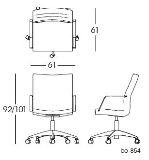 bo-854 Office Chair 2D | Lund & Larsen for bo-ex furniture. http://www.bo-ex.dk/project/bo-855/