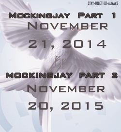 Release dates for Mockingjay! It makes sense that they would break it up like this because there is so much to put in just one mivir.