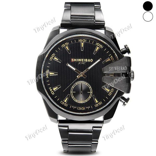 мода большой круглый дизайн корпуса из нержавеющей стали смотреть Band кварцевые аналоговые часы для мужчин WWT-409119