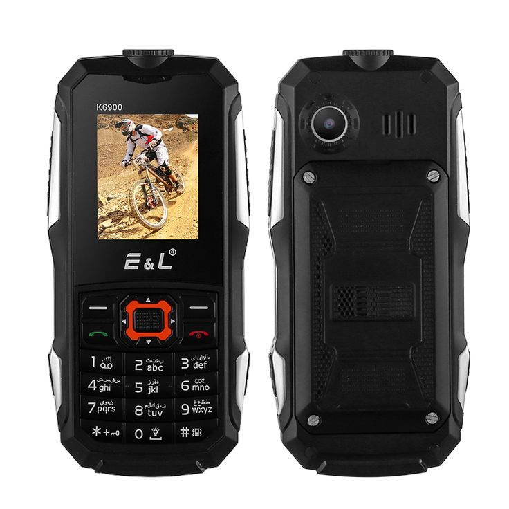Rugged Cell Phone EL K6900 - IP68 Waterproof & Dustproof, Dual SIM, FM Radio, Bluetooth, Flashlight, 2000mAh Battery (Black) - Rugged Cell Phone EL K6900 with IP68 Waterproof & Dustproof rating, Dual SIM, FM Radio, Bluetooth, Flashlight and a 2000mAh Battery