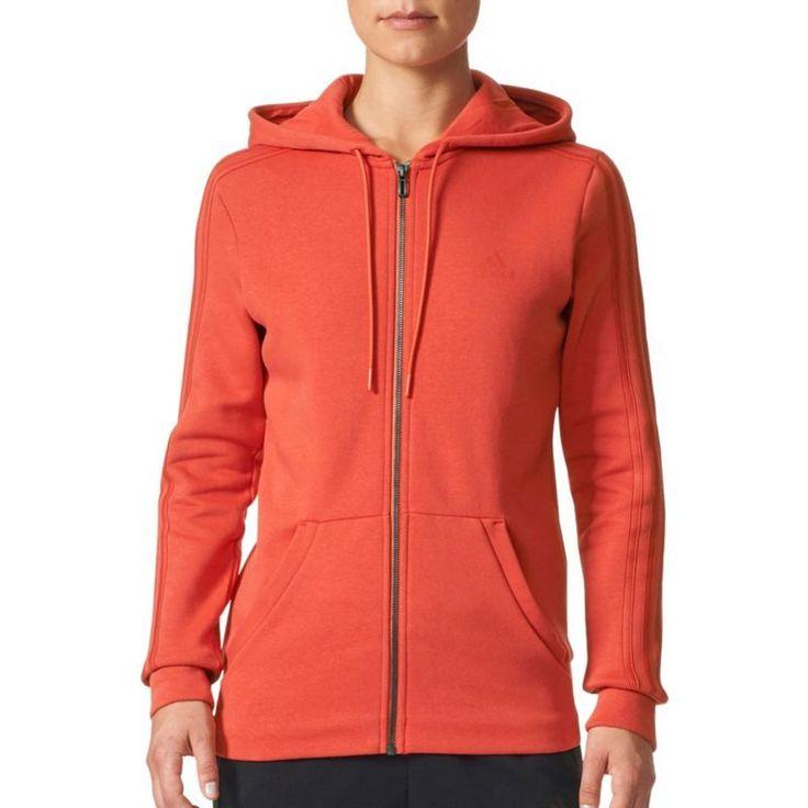 adidas Women's Essentials Cotton Fleece 3-Stripes Full Zip Hoodie, Size: Medium, Red