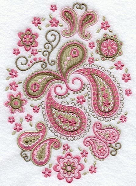 Two Paisley butterfly floral embroidered fabric quilt block squares