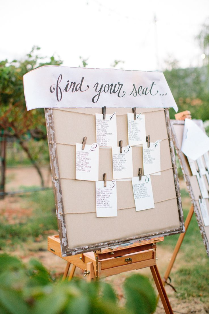 Easel for Seating Chart Display -- See the wedding on Style Me Pretty: http://www.StyleMePretty.com/2014/02/17/elegant-sonoma-mission-wedding/ Caroline Frost Photography
