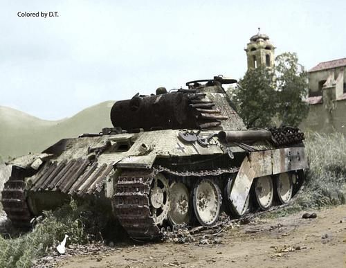 Destroyed Panther tank turret number 114 in Italy 1944.