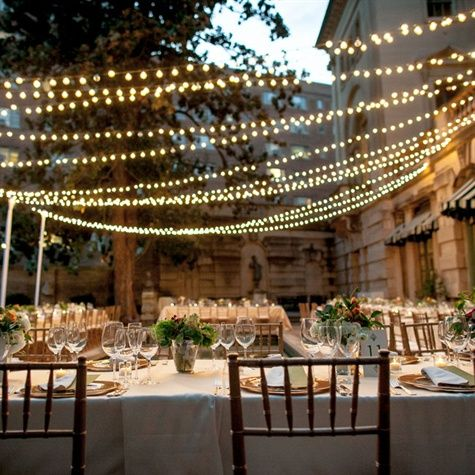 Outdoor String Reception Lighting / Anderson House DC Wedding / Karson Butler Events