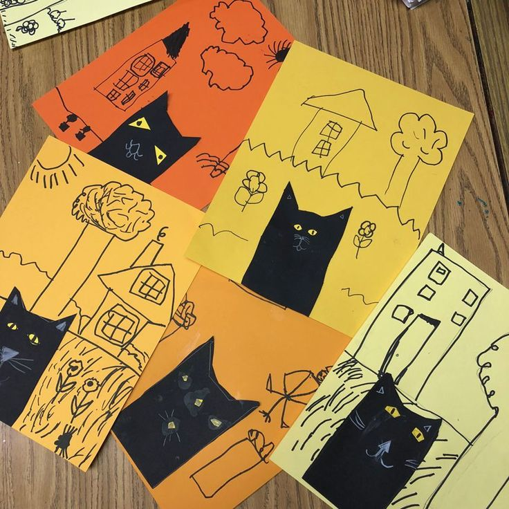 Kinders learned how to trace and cut out a simple cat, and then draw a setting with a black Sharpie marker. The contrast between the two makes the art fun to look … Read More