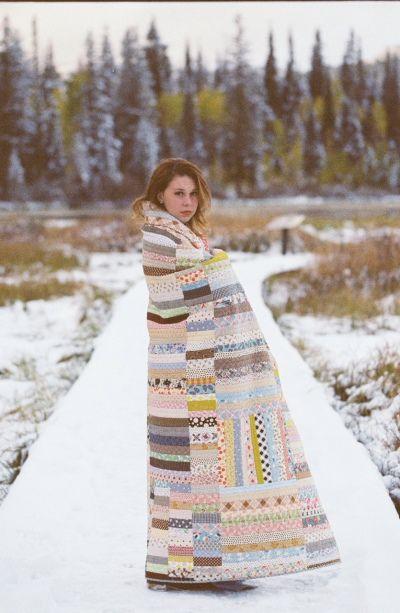 Strip quilt portrait by Jordan Ison via Make it Do  http://www.make-it-do.com/sew-it/strip-quilt-from-scraps/