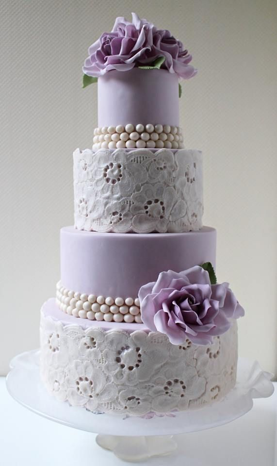 wedding cakes purple and white purple roses lace cake wedding lace 25323