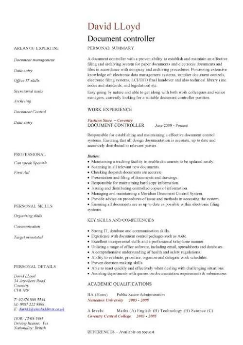 Document controller CV sample, job description, file validation,