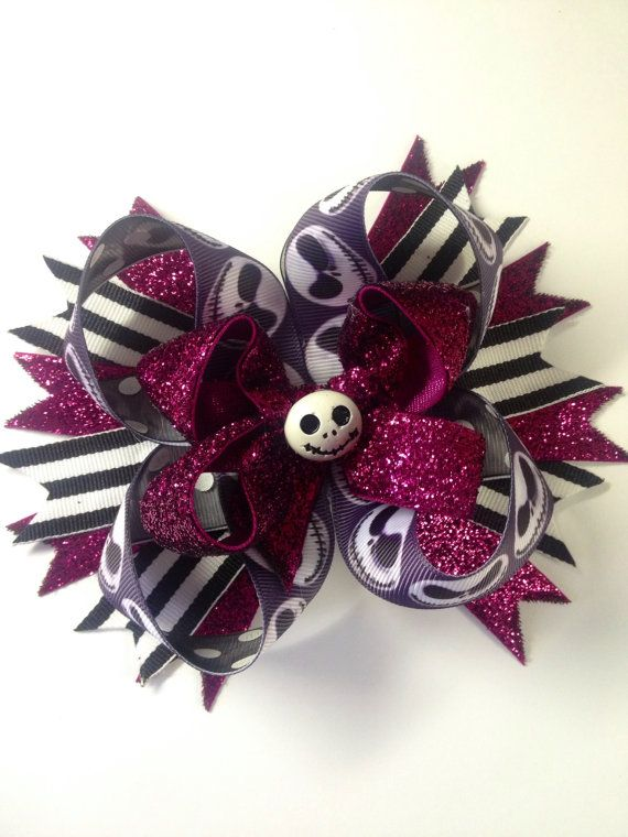 Jack Skeleton hair bow Inspired Hair Bow 5 by ZallistasBowtique, $12.50