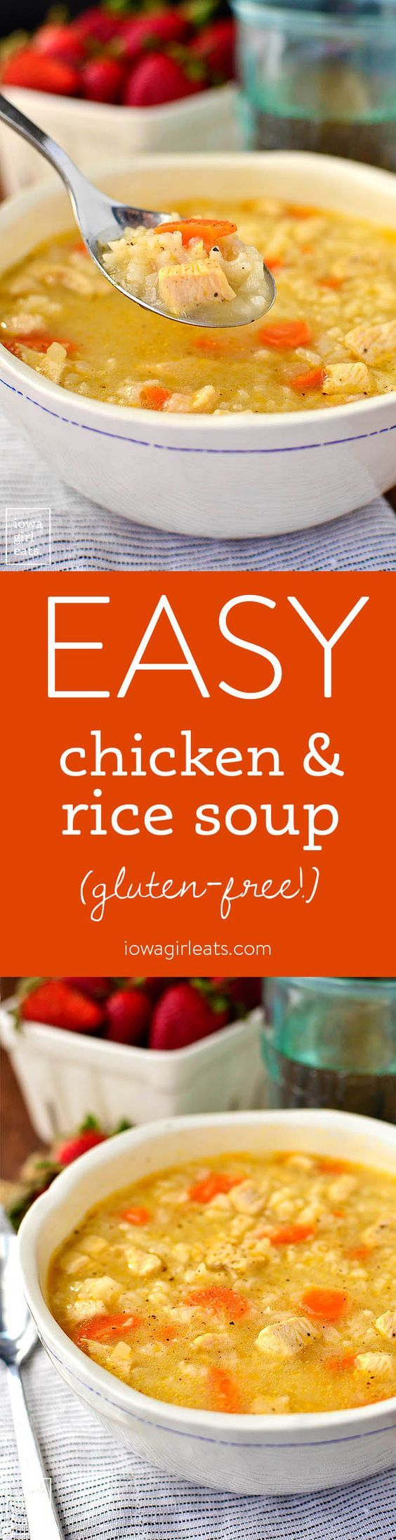 Easy Chicken and Rice Soup is a quick and simple gluten-free soup recipe that the entire family will love. Healthy comfort food in a bowl!   iowagirleats.com