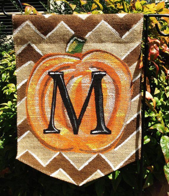 Burlap Garden Flag Brown Chevron Background with Monogram Pumpkin