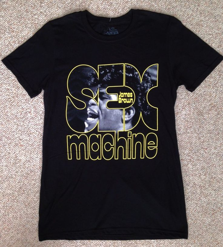 replica vtg JAMES BROWN SEX MACHINE T-SHIRT Black/Yellow Retro 70s Funk ADULT SM #GoodieTwoSleeves #GraphicTee