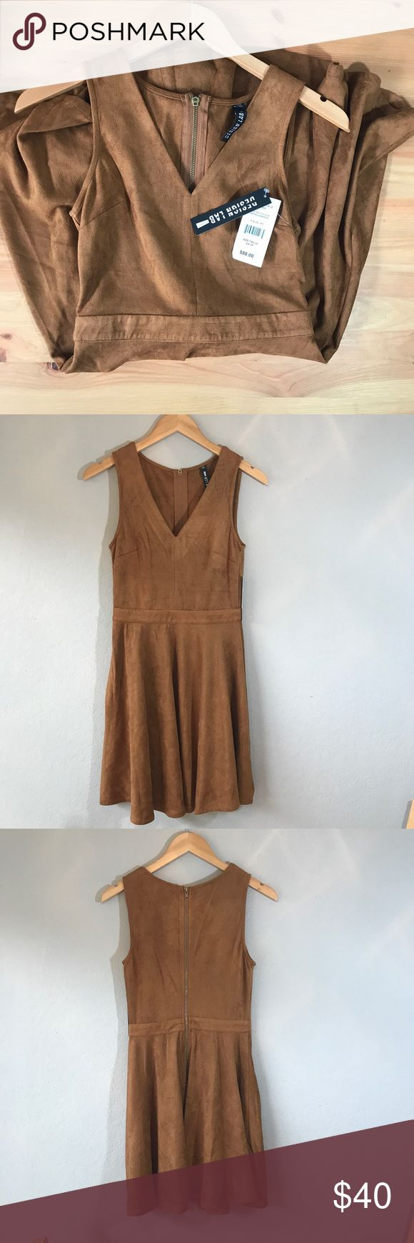 "Design Lab NWT Suede Swing Dress [xs] Design Lab by Lord and Taylor super soft and bouncy suede swing/skater dress with v plunge neckline. Camel brown with zipper down the back. Great color for fall transition! 90% polyester 10% spandex.   Approximate measurements  Bust 15"" Waist 12-3/4"" Length 33.5""  All of my items ship out within 1 day! (Item #010) Lord & Taylor Dresses"
