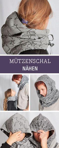 Kostenlose Nähanleitung für einen Kapuzenschal / diy sewing tutorial and pattern for a snoodie via DaWanda.com