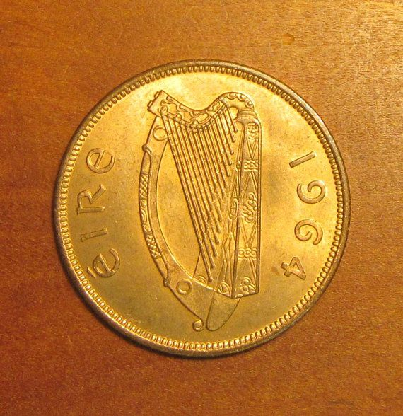 1965 Ireland One Penny Coin with Harp Hen and Chicks!