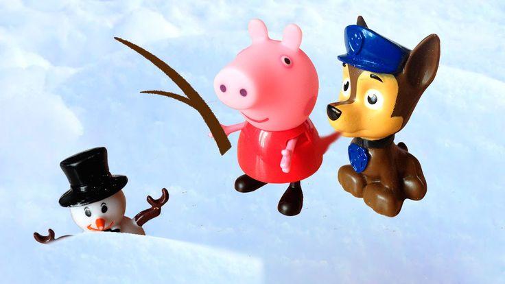 Свинка Пеппа и Щенячий патруль спасают снеговика. Им помогают Маша и мед...