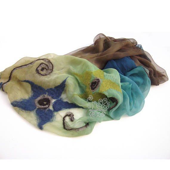 Colorful floral nuno felt silk scarf Bohemian clothing  #feltscarf #nunofelting #bohostyle #bohofashion #bohemiancloting #heramadeart