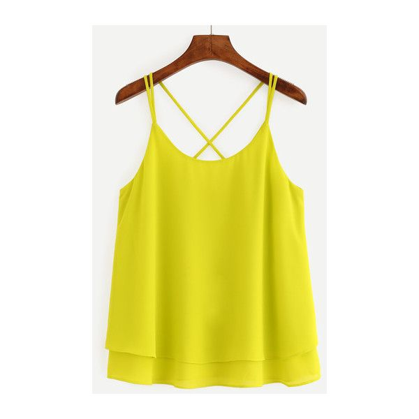 SheIn(sheinside) Crisscross Layered Chiffon Cami Top - Yellow ($13) ❤ liked on Polyvore featuring tops, t o p s, yellow, cami tank, yellow tank top, yellow camisole, spaghetti strap tank top and camisole tank tops