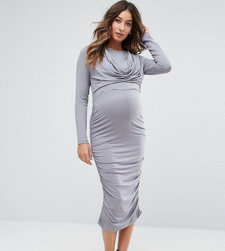ASOS Maternity NURSING Cowl Neck Dress - Gray