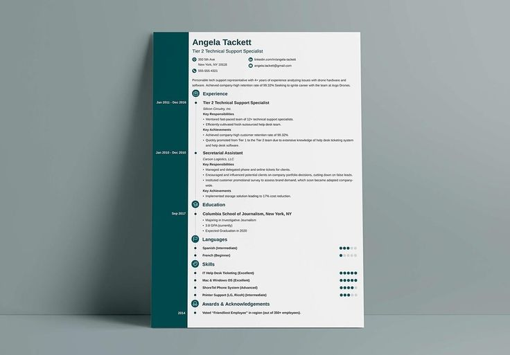 How about this modern template? Perfect for those who love the reverse-chronological resume format, this resume leaves a thin sidebar to the left vacant for all but dates. To increase its modernity, its got icons for both resume sections and each item in the contact info section.  It uses a white background, black text, and a color of your choice for heading titles and the sidebar. Or, if you wish, reverse that color arrangement with dozens of color combinations to choose from for this modern