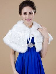 White Faux Fur Bridal Shawl