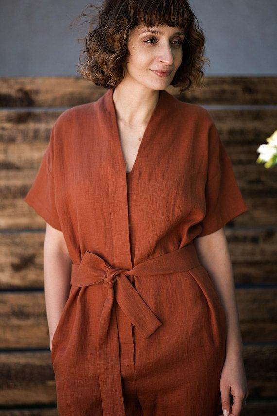 ff52beb517 Linen jumpsuit with short sleeves in redwood Handmade by OFFON ...