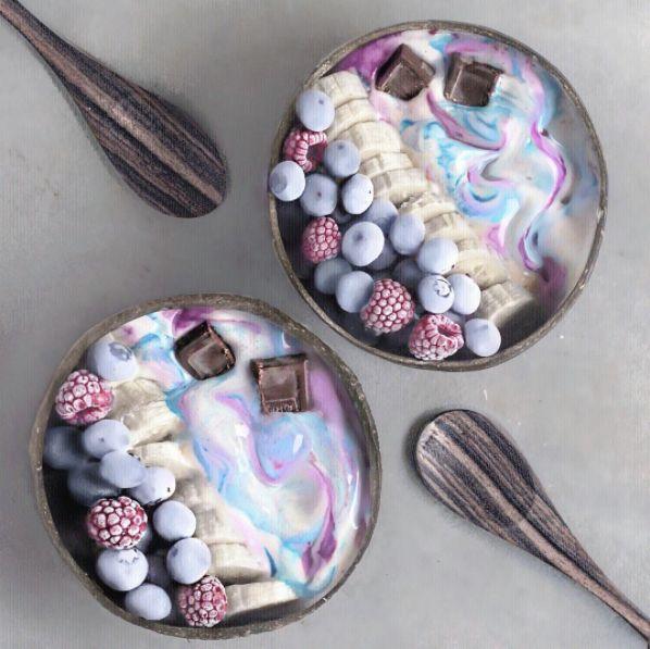 Breakfast goals! via  Naturally Jo   Ingredients:  frozen bananas coconut milk pink dragon fruit & butterfly pea powder! Unicorn breakfast  Toppings: chocolate banana slices and frozen raspberries & blueberries