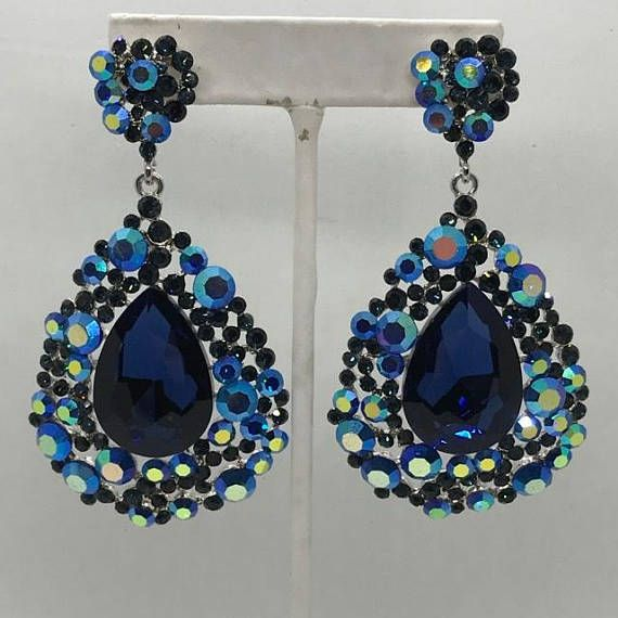 Navy Earrings  202-7  Big Navy Earrings  Navy Pageant