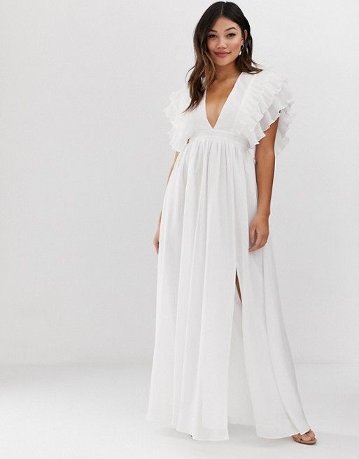 466cd72dc004 True Decadence | True Decadence premium plunge front maxi dress with  shoulder detail in white