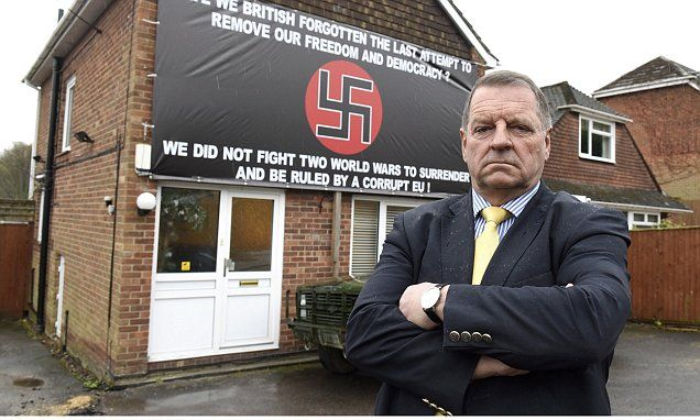UKIP supporter quizzed by police over giant swastika banner