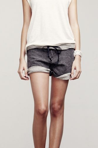 DIY inspiration: sweat shorts. Thrift sweatpants. Cut, roll, stitch. :)